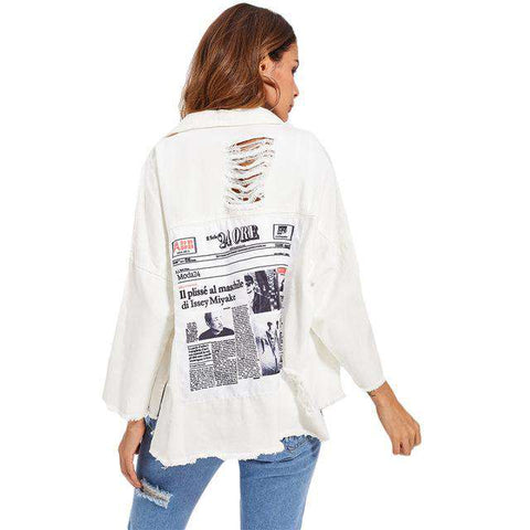 Drop Shoulder Patch Back Distressed Long Sleeve Single Breasted Jacket