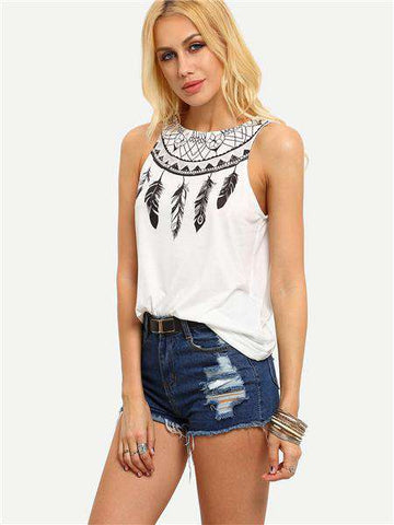 Boho Sleeveless White Feather Print Top - Wear.Style