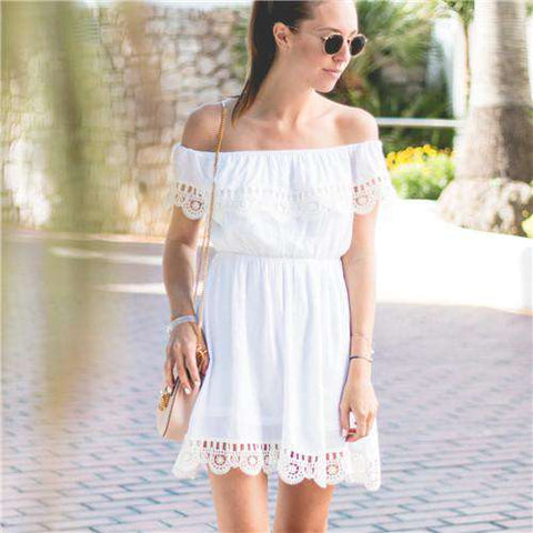 White Off Shoulder Contrast Lace Dress