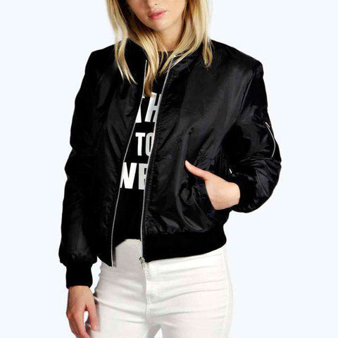 Thin Zipper Bomber Long Sleeve Stand Collar Jacket