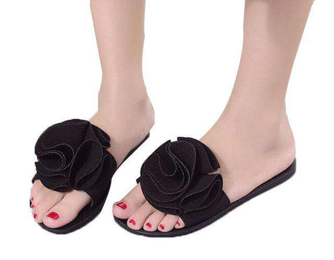 Slippers Cute Big Flower Decoration Flat