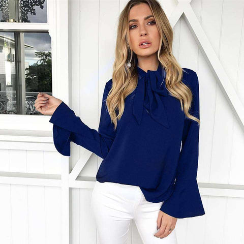 Loose Long Sleeve Tops with Bow