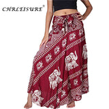 High Waist Print Maxi Lace Up Elephant Print Long Skirt