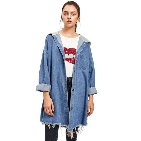Drop Shoulder Frayed Contrast Hooded Denim Single Breasted Blue Long Jacket