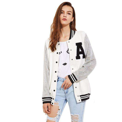 A Patch Sequin Sleeve Stripe Trim Baseball Single Breasted Jacket