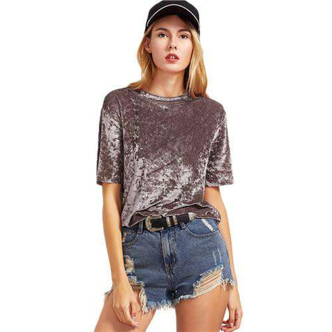 Coffee Short Sleeve Crushed Velvet T-shirt
