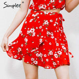 Boho print Chiffon Red Short Skirt - Wear.Style