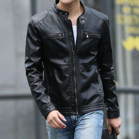 Stand Collar Casual Slim Leather Jacket