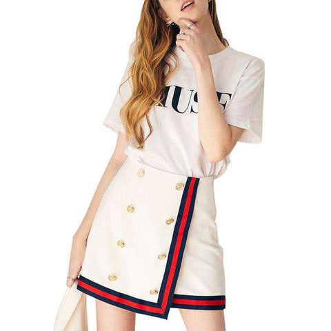 White Block Edge Covering Mini High Waist Double Breasted Preppy Style A-Line Skirt