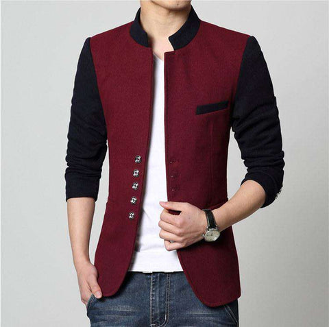 Slim Fit Patchwork Single Breasted Blazer