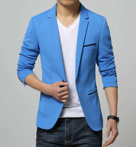 Single Breasted Slim Fit Cotton Blazer