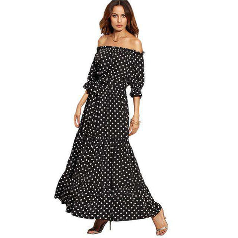 Long Black and White Polka Dot Off Shoulder Half Sleeve Tie Waist A Line Dress - Wear.Style