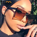 Oversized Square Shield Gradient Vintage Sun Glasses
