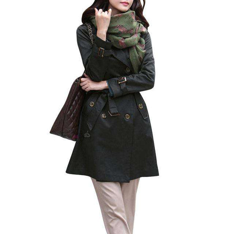 Double Breasted Turn Down Collar Waist Belt Trench Coat