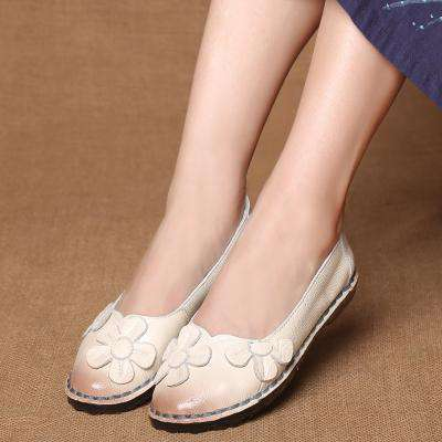 Design Round Toe Mix Colour Flat Genuine Leather Flats - Wear.Style