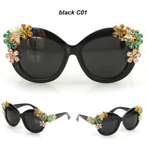 Luxury Statement Flower Decoration Vintage Sunglasses