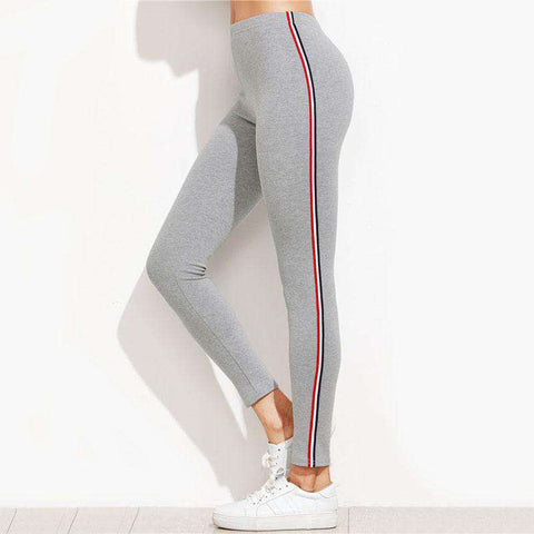 Striped Side Mid Waist Ankle-Length Grey Fitness Leggings