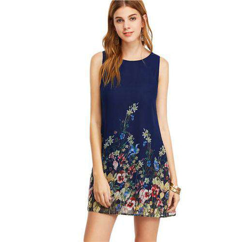 Navy Buttoned Keyhole Back Flower Print Scoop Neck Sleeveless A Line Dress - Wear.Style