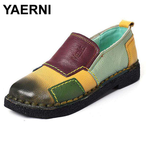 Genuine Leather Mixed Colours Casual Handmade Soft Comfortable Shoes - Wear.Style