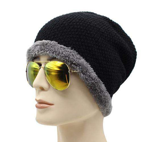 Knitted Warm Plain Flat Baggy Wool Knit Cap