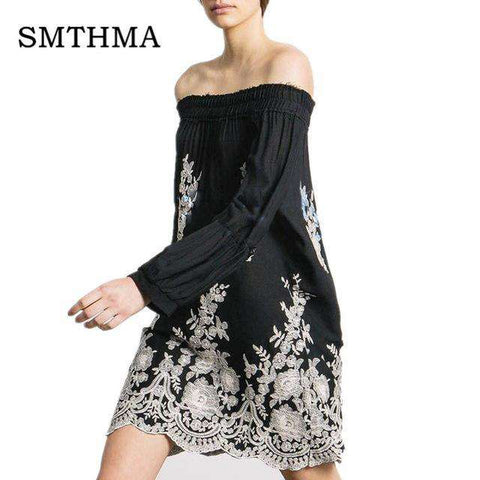 Off the shoulder Sleeve Embroidery Dress - Wear.Style