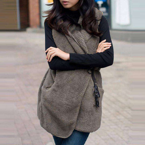 Hoodie Faux Lamb Fur Long Coat - Wear.Style