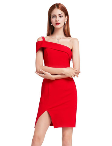 One Shoulder Split Sexy Backless Cocktail Dress