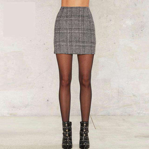 Sexy Plaid Zipper Mini Casual High Waist A-line Skirt - Wear.Style