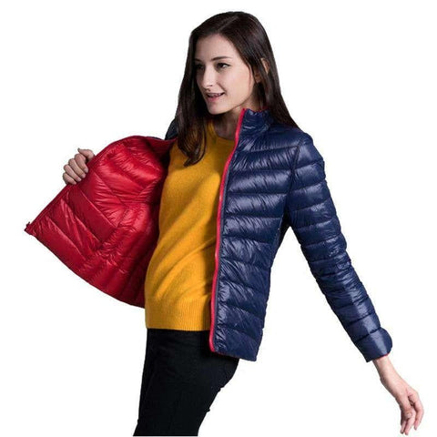 Ultra Light Double Side Short Design Slim Warm Jacket