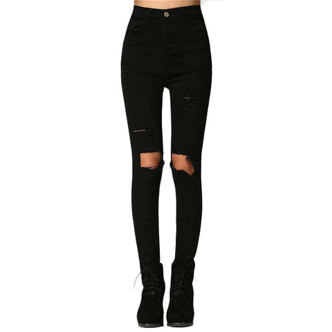 Cut Out Knee Ripped Black Mid Waist Skinny Button Fly Jeans