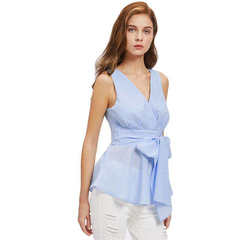 Blue V Neck Cutout Peplum Sleeveless Sexy Top With Belt