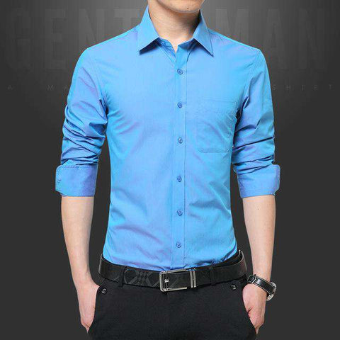 Long Sleeve Turn Down Collar Slim Fit Shirt - Wear.Style
