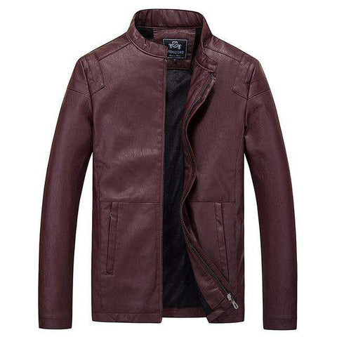 Pu Leather Motorcycle Stand Collar Jacket - Wear.Style