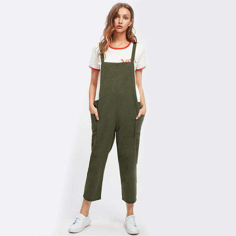Pocket Side Cross Back Green Strap Sleeveless Summer Jumpsuit