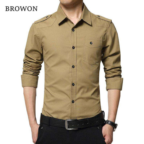 Full Sleeve Military Style 100% Cotton Army Green Shirt - Wear.Style