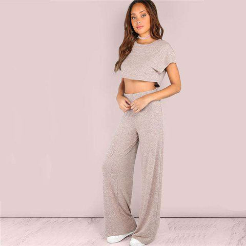 Sporty Crop & Wide Short Sleeve Pink Round Neck Two Piece Set