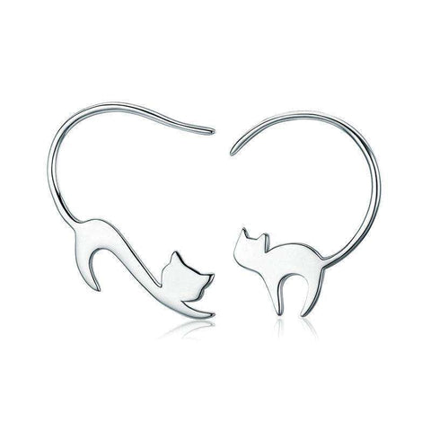 Pure 925 Sterling Silver Asymmetry Animal Loving Cute Cat Hook Earrings