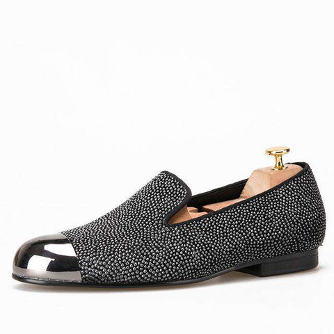 Gun Metal Toe Luxurious Handcrafted Smoking Loafers
