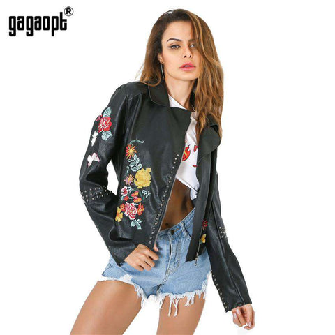 Leather Special Rivet Embroidery Jacket - WS-Jackets