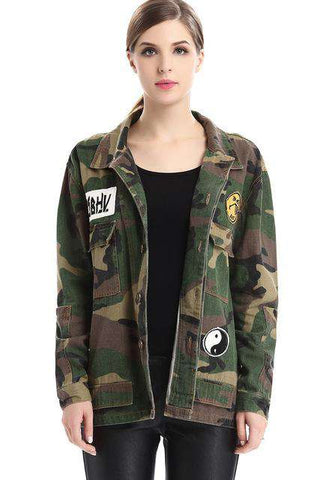 Army Green Printed Camouflage Wide-waisted Jacket