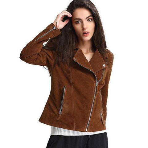 Genuine Leather Zipper Slim Turn-down Collar Motorcycle Jackets
