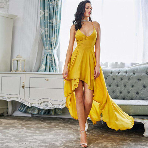 High Low Draped Sexy Backless V Neck Yellow A Line Dress