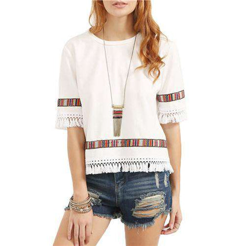 Beige Vintage Embroidered Fringe Round Neck Half Sleeve Patchwork Blouse Top