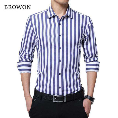 Striped Casual Long Sleeve Cotton Turn Down Collar Shirt