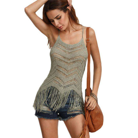 Army Green Fringe Hem Knitted Sleeveless Hollow Out Camisole Tops