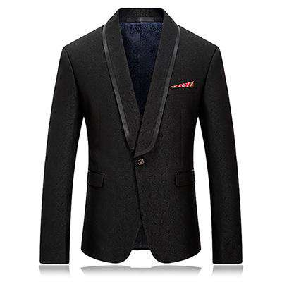 Black Single Button Slim Fit Blazer