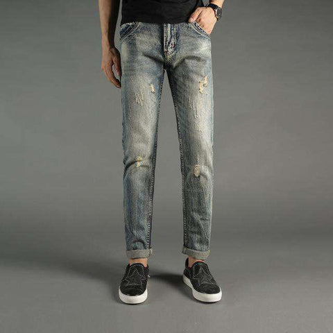 Italian Style Slim Fit Ripped Jeans