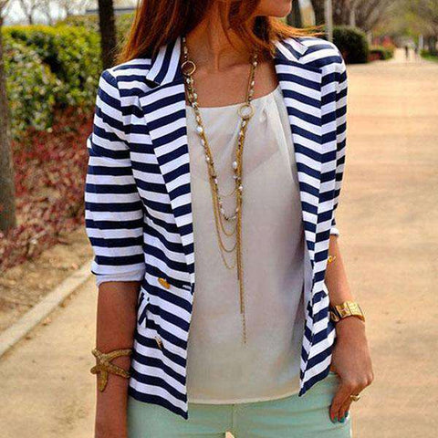 Striped Slim Coat
