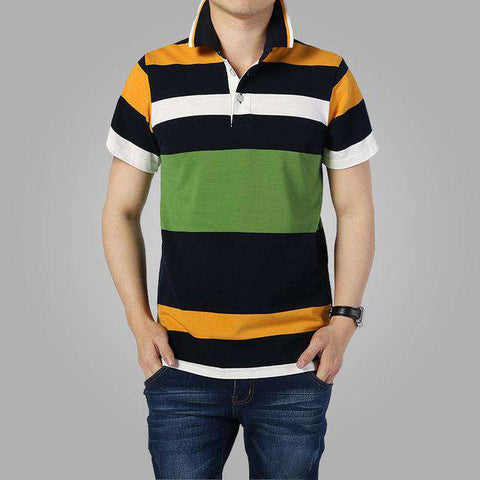 Striped Short Sleeve Classic Polo Turn-down Collar Tees