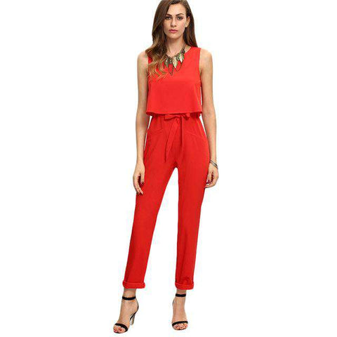 Red Sleeveless Bow Tie Waist Sexy Elegant Jumpsuit